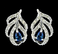 Fashion Elegant Silver Plated Leaf Shape Single Stone Earrings