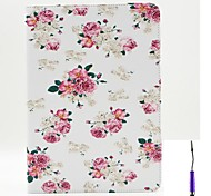 Charming Flowers Pattern PU Leather Case Cover with A Touch Pen ,Stand and Card Holder for iPad Air