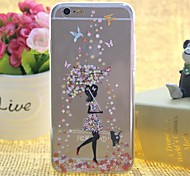 Snow in Girls Pattern TPU Relief Thin Transparent  All Inclusive Back Cover Case for iPhone 6