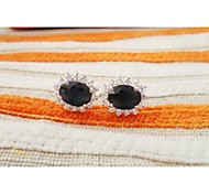 Unisex Vintage/Casual Gemstone Stud 925 Silver Sapphire Stud Earrings