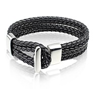Fashion Personality Black Leather Stainless Steel Bracelet (1 Pc)