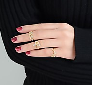 tre donne a forma di foglia set anello a buon mercato moda