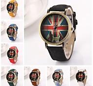 Women's  Union Jack Logo  Round  Dial  Leather Quartz Wristwatches  (Assorted Colors)C&D167