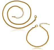 Gold Plated 3MM Fashion Jewelry Sets Necklace bracelet