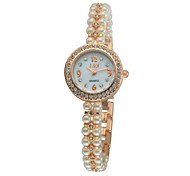 Women's Bracelet Watch Quartz Analog Pearls Chain Sparkling Diamonds Round Dial Rose Gold