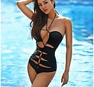 Women's Fashion Sexy Black Hollow Deep V One Piece Bikini Swimwear Swimsuit Bathing Suit