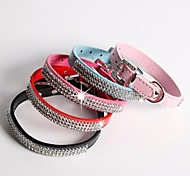 Red/Black/Blue/Pink/Rose Retractable Metal/PU Leather Collars For Dogs/Cats