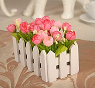 "6.3""L 4.3""H Beautiful Multicolor Bud Roses in White Fence"