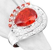 Newest Pink Kunzite Red Quartz Gemstone Silver Ring 1PC