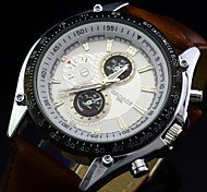 Men's Sport Watch Genuine Leather Band Military Wrist Watch Japanese Quartz Analog 50M Water Resistant