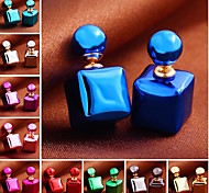 Korea Cute Cube Candy Color Pearl Stud Earring(1pair)