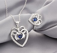 Silver Plated (Necklaces&Ring) Crystal Jewelry Sets