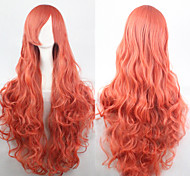The new European and American high-temperature  Deep Pink Silk Long Curly Wig 80CM