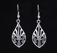 Cute Flower Silver Dangle Earring (1 Pair)