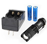 LS301 CREE XRE Q5 300lm Mini LED Flashlight Kit(1X14500 Battery and Charger are Included)