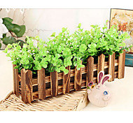 "12""L Rural Style Simulation Leaves in Brown Wooden Fence"
