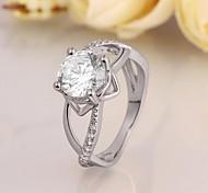 Classics Diamante Women White Zircon Statement Rings(White)(1Pcs)