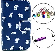 Elephant Carpet Pattern PU Leather Case with Stylus and Dust Plug for Samsung Galaxy Fame S6810/S6818
