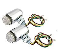 2x 24 LED Chrome Motorcycle Tail Brake Turn Signal Light Indicator Amber