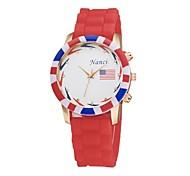Women's Sports Watch Quartz Analog Flower Round Silicone Strap Fashion Jelly USA Flag Pattern