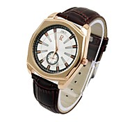 Men's Women's Leather Dress Watch Quartz Analog Water Resistant Sub-Dial Second Hand Rose Gold/Silver Case