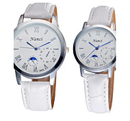 Couple's Bracelet Watch Quartz Analog Bohemian Roman Numeral PU Leather 2pcs/pair