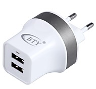 BTY M525 Universal Dual USB AC Power Adapter Charger - White (EU Plug / 100~240V)