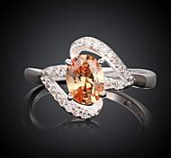 Fashion Big Diamante Geometric Shape Women Orange and Silver Zircon Statement Rings(Orange and Silver)(1Pcs)