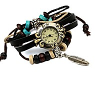Women's Hot Leather Beaded Leaf Bracelet Watch Cool Watches Unique Watches