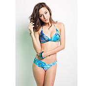Blue Floral Halter Top Deep-V Ruched Bottom Bikini