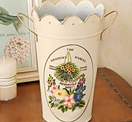 "10""H Rural Style White Iron Vase Cylindrical Vase Flower Pattern"
