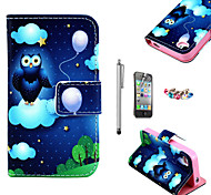 KARZEA™ Balloon Owl Pattern PU Leather Case with Screen Protector and Stylus and Dust Plug for iPhone 4/4S