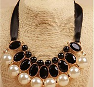 Korean Fashion Imitated Pearl Gemstone Diamond Ribbon Necklace