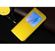 coldre de telefone inteligente capa protetora pu dormente por samsung galaxy S6 borda (ouro)