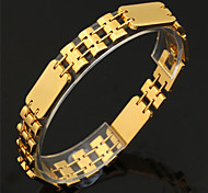U7® Wide Watch Chain Bracelet 18K Real Gold/Platinum Plated Women Men Jewelry Simple Bracelet