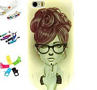 Glasses Beauty Balloons Pattern Stylus Anti-Dust Plug and Stand TPU Material for iPhone 5/5S