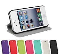 PU Leather Magnetic Ultra-thin Flip Cover Wallet Card Slot Case Stand Skin Case for iPhone 4/4S(Assorted Colors)