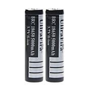 ullra 3.7v 5000mah fira 18650 batería de iones de litio recargable (2pcs)