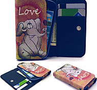 Smile Elephant Pattern PU Leather Case Card Money for Samsung Mobile Size<14.6*8*2.2