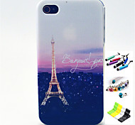 Pylon Pattern with Stylus ,Anti-Dust Plug and Stand TPU Soft Case for iPhone 4/4S