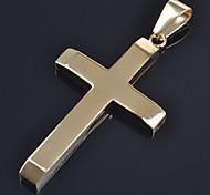 Fashion Men Women 4.2cm*2.7cm 18K Gold/Silver Platinum Plated Stainless Steel Cross Pendants