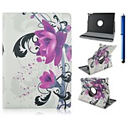 9.7 Inch 360 Degree Rotation Flower Pattern with Stand Case and Pen for iPad Air 2/iPad 6