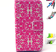 Red Print Pattern PU Material Holster And Stylus Pen Dust Plug Bracket Assembly for iPhone 4/4S