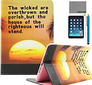 patrón de coco amanecer de la PU del tirón del cuero de coco Fun® caso del soporte con protector de pantalla y el stylus para Apple iPad