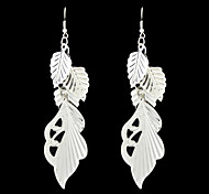 Latest Design Silver Color Leaf Shape Long Earrings