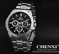 CHENXI® Men's Simple Design Dress Watch Japanese Quartz Water Resistant Silver Steel Strap