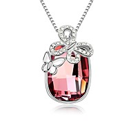 Butterfly at Creek Short Necklace Plated with 18K True Platinum Antique Pink Crystallized Austrian Crystal Stones