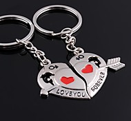 Unisex Alloy Keychain Heart Shaped Valentine's Day Key Chains 1 Pair