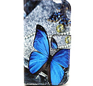 Butterfly Pattern PU Leather Case with Magnetic Snap and Card Slot for Alcatel One Touch Pop C7