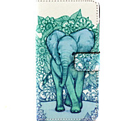 Blue Elephant Pattern PU Leather Case with Stand and Card Slot for Samsung Galaxy A5